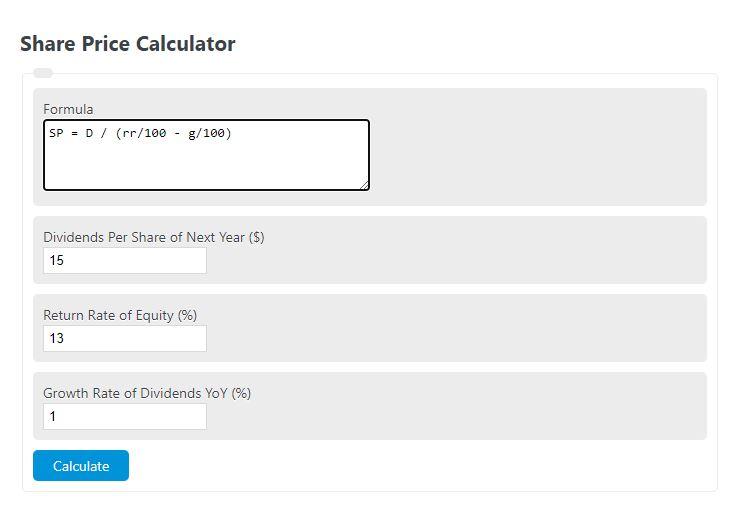 share price calculator