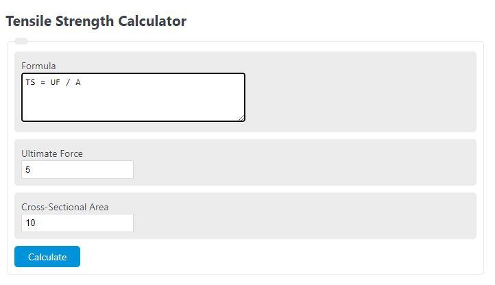 tensile strength calculator