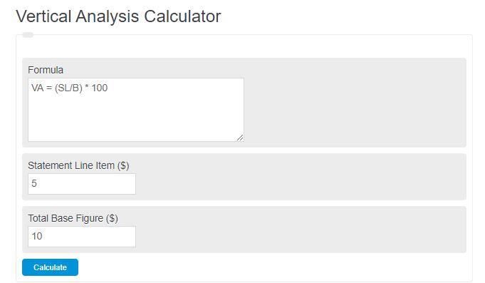vertical analysis calculator