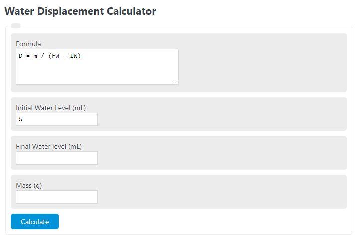 water displacement calculator