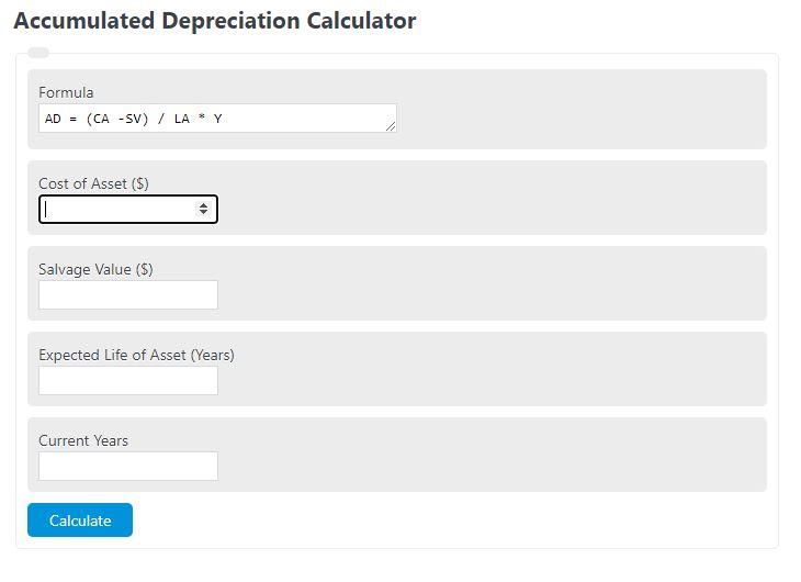 accumulated depreciation caluclator