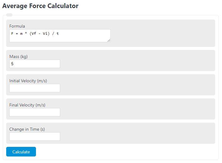 average force calculator