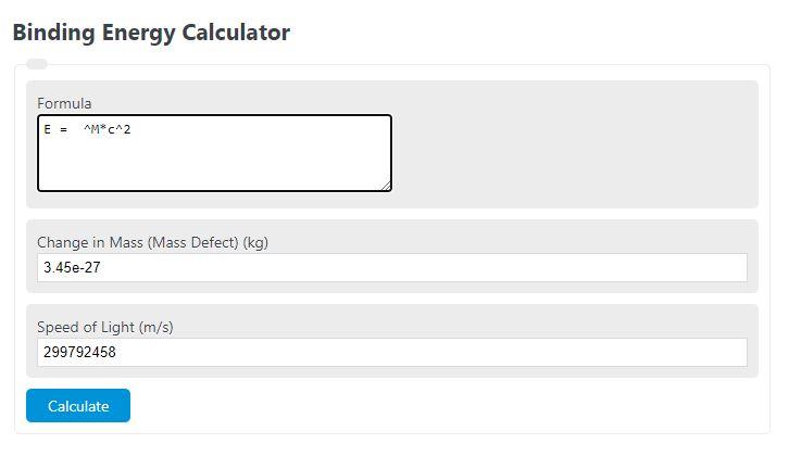 binding energy calculator
