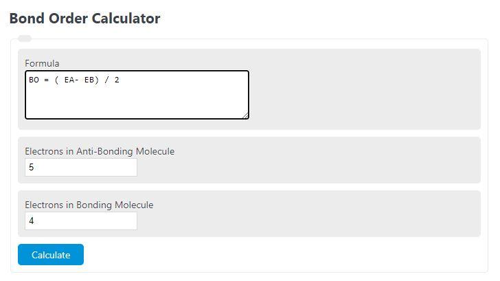 bond order calculator