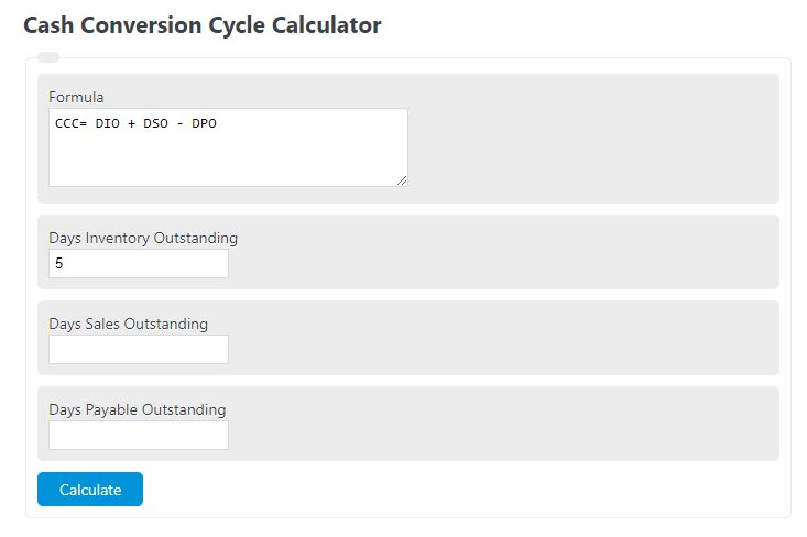 cash conversion cycle calculator