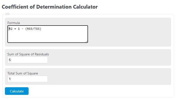 coefficient of determination calculator