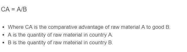 comparative advantage formula