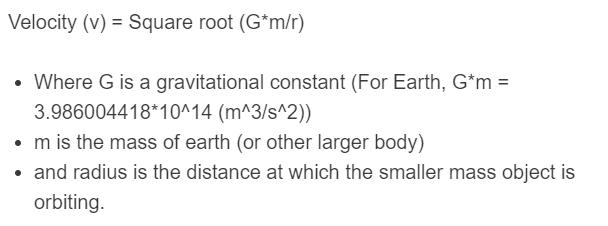 orbital speed formula
