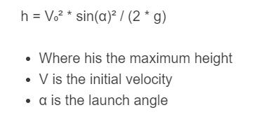 maximum height of projectile formula