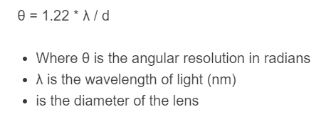 angular resolution formula