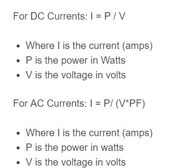 watts to amps formula