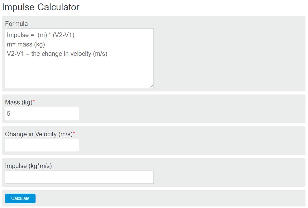 impulse calculator
