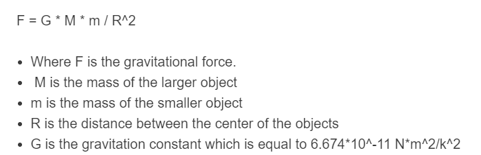 gravitational force formula