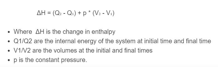 enthalpy formula
