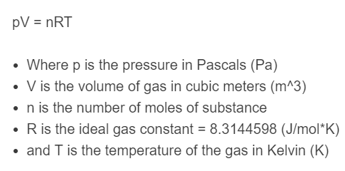 ideal gas formula