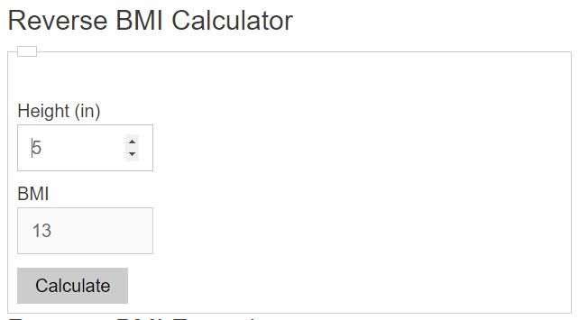 reverse bmi calculator