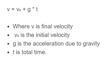 free fall formula