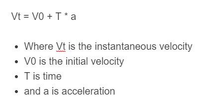 instantaneous velocity formula