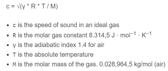 speed of sound formula