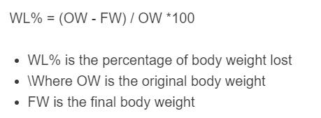 weight loss percentage formula