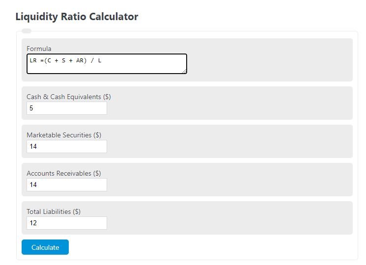 liquidity ratio calculator