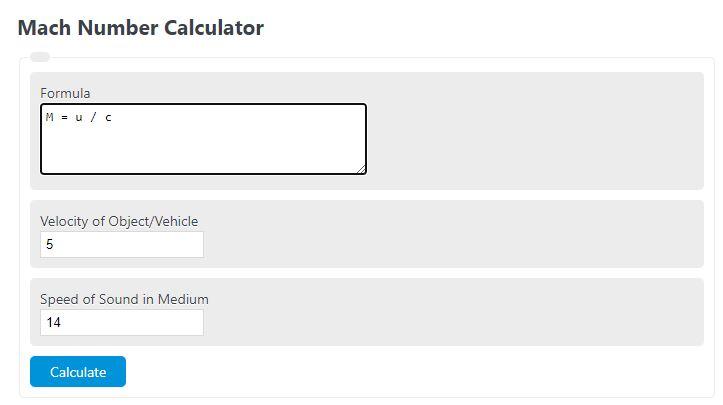 mach number calculator
