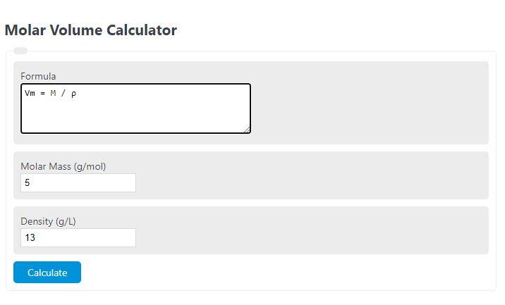 molar volume calculator