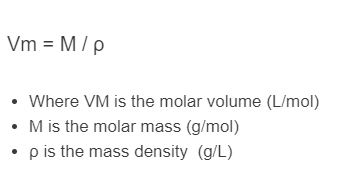 molar volume formula