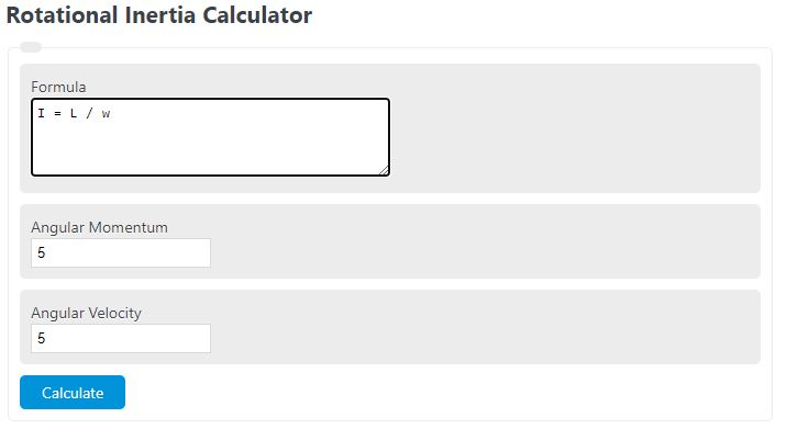 rotational inertia calculator