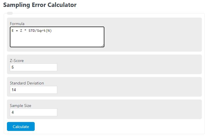sampling error calculator