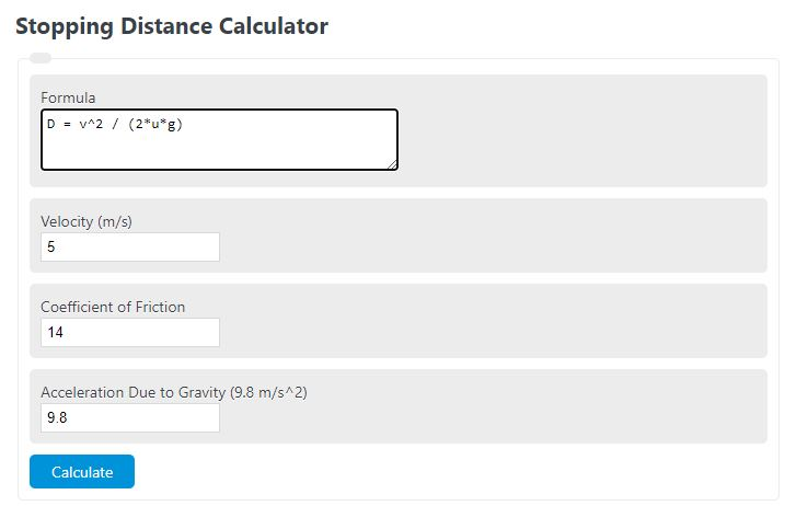 stopping distance calculator