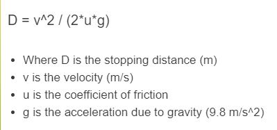 stopping distance formula