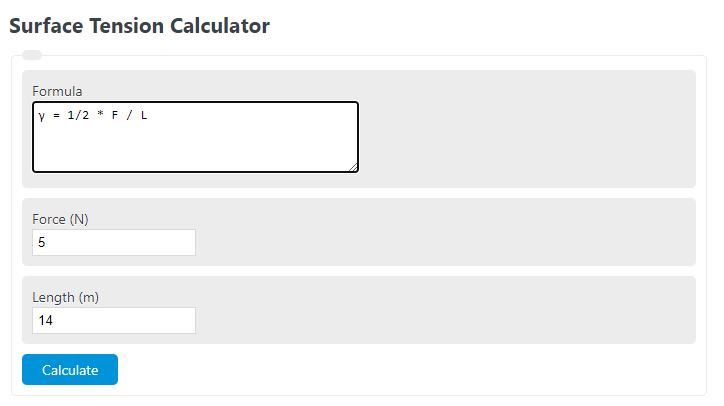 surface tension calculator