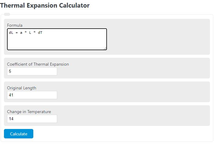 thermal expansion calculator