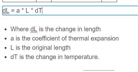 thermal expansion formula