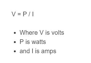 amp to volt formula
