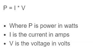 amp to watts formula