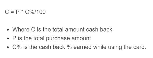 cash back formula
