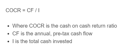 cash on cash return formula