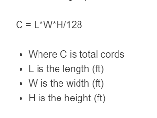 cords of wood formula