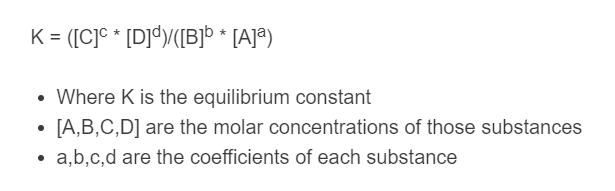 equilibrium constant formula