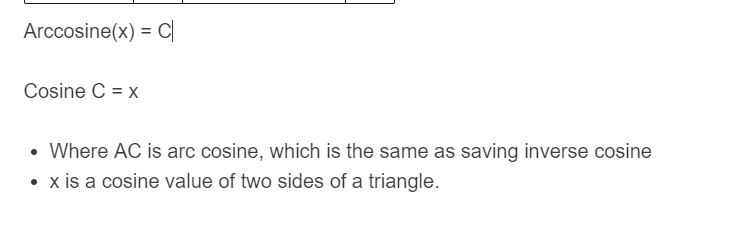 inverse cosine formula