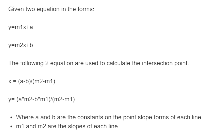 point of intersection formula