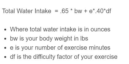 water intake formula