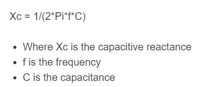 capacitive reactance formula