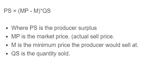 producer surplus formula