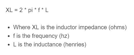 inductor impedance formula