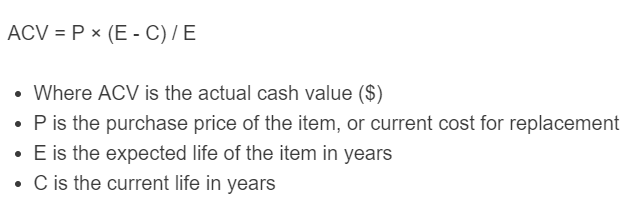 actual cash value formula