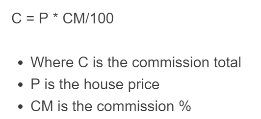 real estate commission formuila