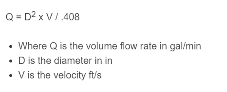 water flow rate formula